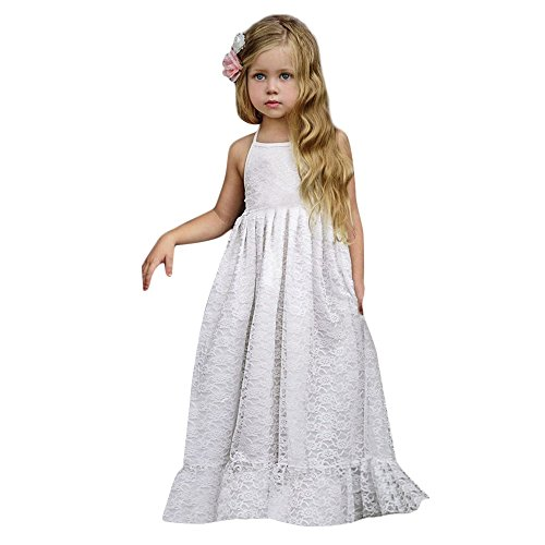 �r Mädchen, Kinder ärmellos Spitze Hochzeit Tüll Kinderkleid Flower Backless Strap Princess Brautjungfernkleid Pailletten Spitzenkleid ()