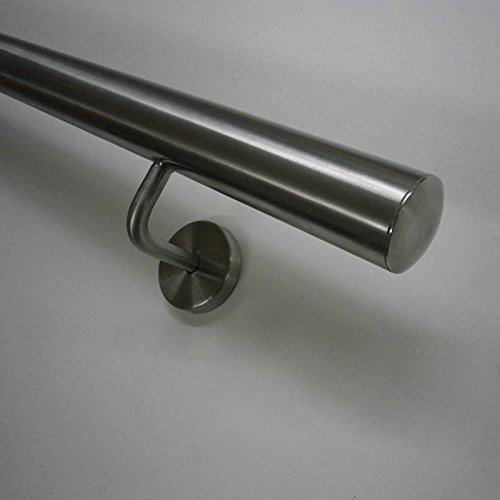 Edelstahl Handlauf Ø33,7mm mit gewinkelten Handlaufhaltern (geteilt über 2.6m) (280cm 3 Edelstahl-Halter)