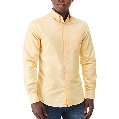 Charles Wilson Langärmliges Oxford Freizeithemd (Small, Gelb) (Gelb-oxford-hemden)