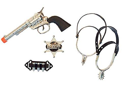 halloweenia-Disfraz de vaquero Juego-Espuelas Cartuchos revólver Pistola Sheriff Estrella, multicolor