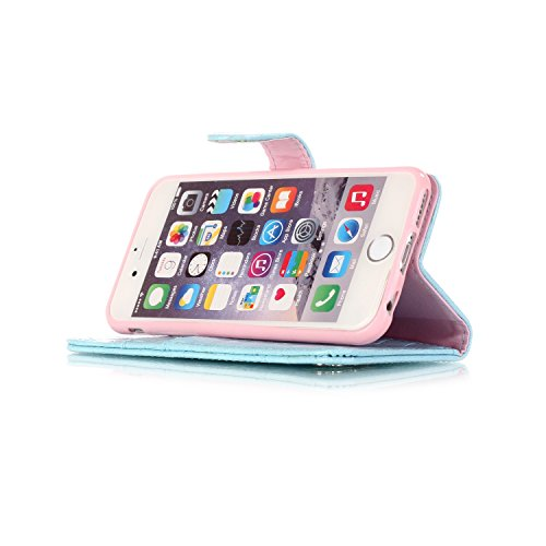 iPhone 6 Hülle, iPhone 6S Ledertasche - Felfy Flip Style Luxe Bookstyle Tasche Case Kasten 3D Reliefdruck Stilvolle Kreismuster Muster Design Muster Premium Tasche Geldbeutel Folio PU Leder Mappen Mag Krokodil Hellblau