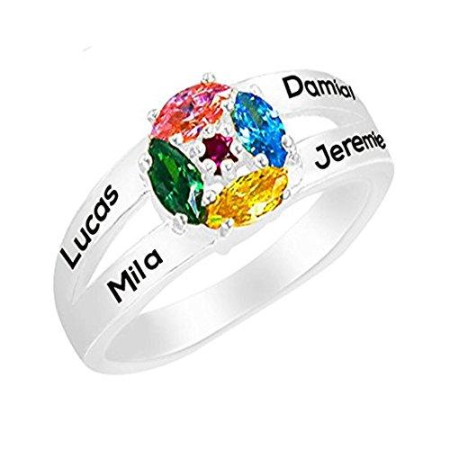 0183025adfe6 JF Regalo Personalizado de joyería para mamá 4 Nombres 4 Anillos de Promesa  de Piedra simulada Infantil para Las Mujeres