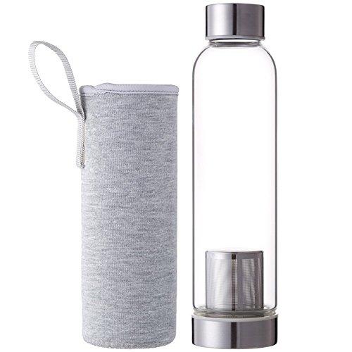Demarkt Trinkflasche aus Glas 550ml Teeflasche aus Glas mit Tee-Sieb Sport Glasflasche Wasser Flasche mit Edelstahl Filter-Einsatz mit Nylon Tasche (Grau) - Wasser Filter Flasche