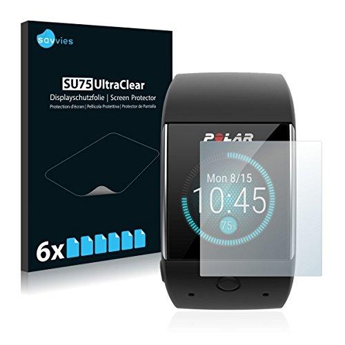 6x Savvies SU75 UltraClear Bildschirmschutz Schutzfolie für Polar M600 (ultraklar, mühelosanzubringen)