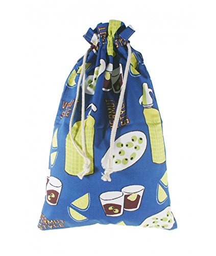 CAL FUSTER - Bolsa para el para tela estampada en azul diseño Vermut. Medidas: 57x37 cm.