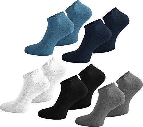 normani 10 Paar Baumwolle Sommer Sneaker Socken für Damen und Herren in verschiedenen Farben zur Auswahl Farbe Schwarz/Weiß/Grau/Blau/Marine Größe 48/50