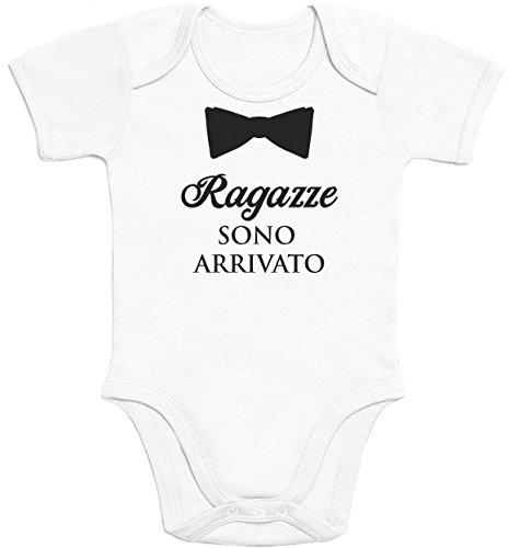 Shirtgeil ragazze sono arrivato con papillon - regalo neonati body neonato manica corta 0-3 mesi bianco