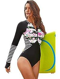 8a304e00f7a7c One Piece EIN Stück Langarm Reißverschluss Vorne Blockfarben Gestreift  Gestreiftes Geblümt Gepolstert Rash Guard Swimwear Swimsuit