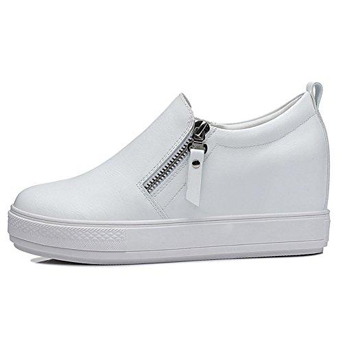 Moderne Damen Sommer und Herbst Halbschuhe Damen Reißverschluss flach lässige Keilabsatz versteckte Aufzug Fersen beiläufige Sneakers Slip-on Weiß