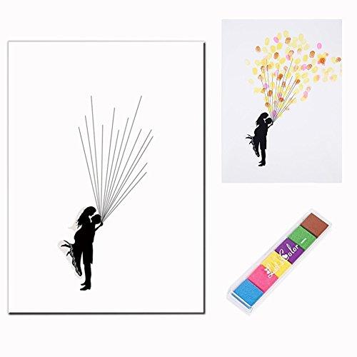 OFKPO Hochzeitsbaum Fingerabdruck,Hochzeits Gästebuch Fingerabdruck Plakat mit 6 Farben Tinte
