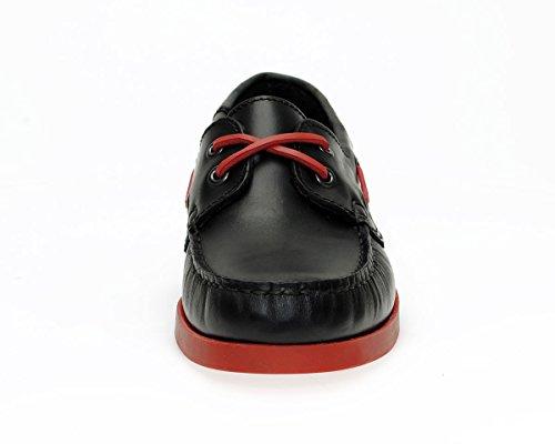 Jim Boomba Boat Shoe Segelschuh Dockside Deckschuh aus echtem Leder in Black-Red / Schwarz-Rot Schwarz / Rot