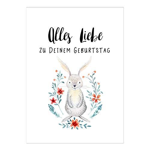 Große XL Design Glückwunsch-Karte zum Geburtstag mit Umschlag / A5 / Schlicht modern Hase mit Blumen Aquarell/Geburtstagskarte / Grußkarte
