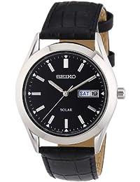 Seiko Herren-Armbanduhr XL Solar Analog Quarz Leder SNE039P2
