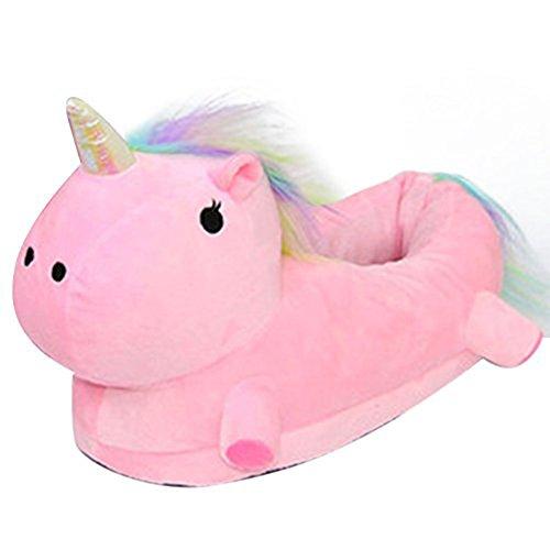 Unicorn Innen-Plüschhausschuhe erwachsene Frauen und Kinder, Mädchen warme Winterkarikaturplüsch Baumwolle Anhänger Kufe Pantoffeln Größe: 36-44 Pink
