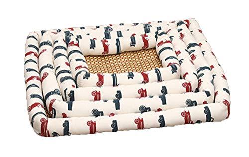 XIAOPANG Summer Kennel Dog Mat Weiche Universal-Haustiermatte Cool Straw Pet,White,S -