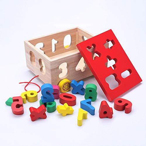 Pkjskh Fünfzehn-Loch-Anhänger/Digital Trailer Kinder-Bausteine   Spielzeug 36 Monate und darüber Junge Mädchen Intellektuelles Spielzeug Sicherheit Gesundheit Massivholz Material Eltern-Kind-Interak (Trailer Für P)