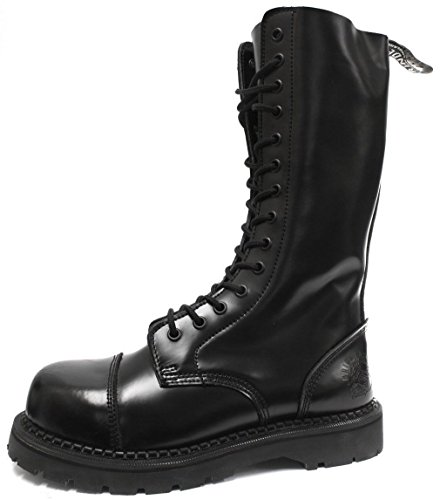 GRINDERS Herald Kampf Stiefel 14 Löcher aus Schwarzem Leder Sicherheit Stahlkappe Punk Unisex (43) Rock Grinder
