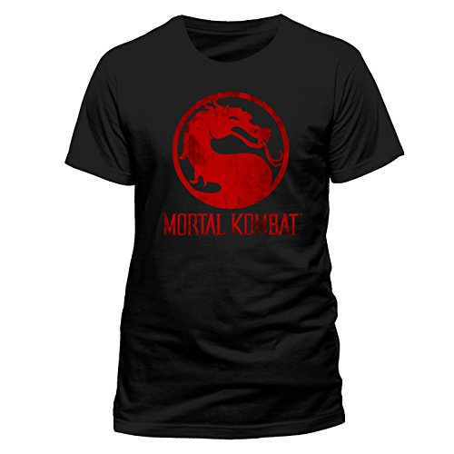 Mortal Kombat Herren T-Shirt Distressed Logo, Schwarz-Schwarz, Medium (Baumwolle T-shirt Distressed)