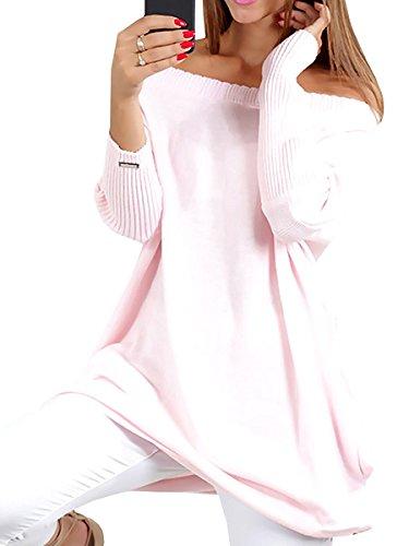 Minetom Damen Elegant Schulterfrei Einfarbig Langarm Stretch Pullover Pulli Kleid Oversize Strickkleid Frauen Fledermausärmel Lose Sweatkleid Outwear rosa 46 (Kleider, Pullover, Stiefel)