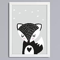 Fuchs- Tier-Motiv in SW Kunstdruck ohne Rahmen