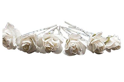 Tooky, 10 forcine per capelli con piccole rose applicate, ideale per sposa o damigelle, lega, colore: white