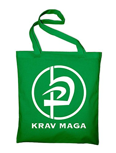 Krav Maga Kampfsport Logo Jutebeutel, Beutel, Stoffbeutel, Baumwolltasche Grün