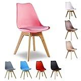 Silla de comedor P&N Homewares® Lorenzo Tulip de plástico y madera DWS, estilo retro, en color blanco, negro, gris, rojo, amarillo, verde, azul, rosa