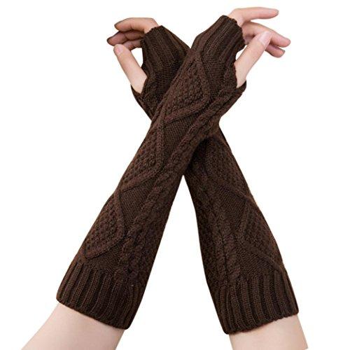 VENMO Unisex Gestrickte Fingerlose Armstulpen Strick Handschuhe Handstulpen Armwärmer Stulpen tiefen Halblange Gloves Gestricktes fingerloses Winterhandschuhe Weiche Stricken Handschuhe (Coffee)