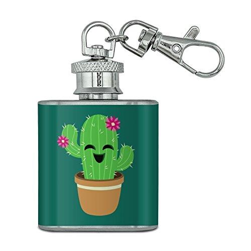 Niedliche Kaktus im Topf mit rosa Blumen Unzen Edelstahl Mini Fläschchen Schlüssel Kette