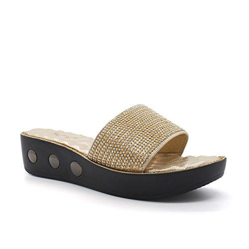 London Schuhe Zilla, mit Damen Wedge Schuhe Gold