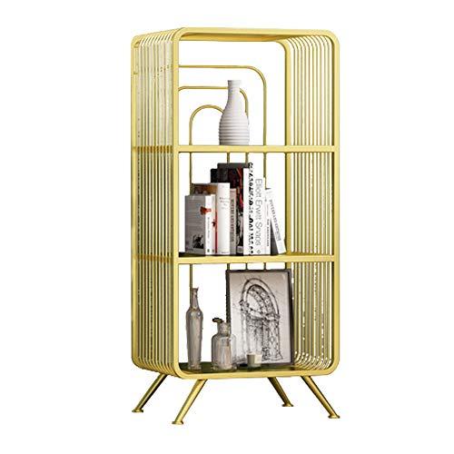 Moderne Geschmiedete Eisen (Lagerregal ZHIRONG Nordic Modern Standing Multi-Layer-Regale Bücherregal Ecke Frame Sofa Beistelltisch Gold (größe : 2-Schicht))