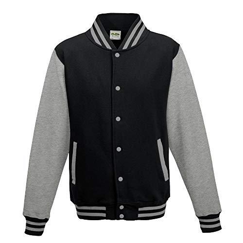 Just Hoods - Unisex College Jacke 'Varsity Jacket' BITTE DIE JH043 BESTELLEN! Gr. - M - Jet Black/Heather Grey - Varsity Baseball