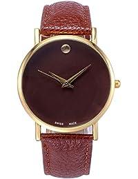 buyeonline de las mujeres moda reloj de cuarzo correa de piel Casual de oro rosa café