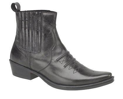 Gringos Herren Gusset Western Cowboy Knöchel-Stiefel in schwarz Antikleder in Größe 44