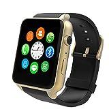 Smartwatch Herzfrequenz-Messgerät GSM GPRS Kommunikationsfunktion Bewegungsverfolgung Bluetooth Sportuhr,Gold