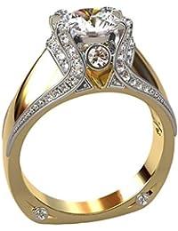 YSoutstripdu Damen Fingerring Verlobungsring Hochzeitsschmuck Rundschliff Strasssteine
