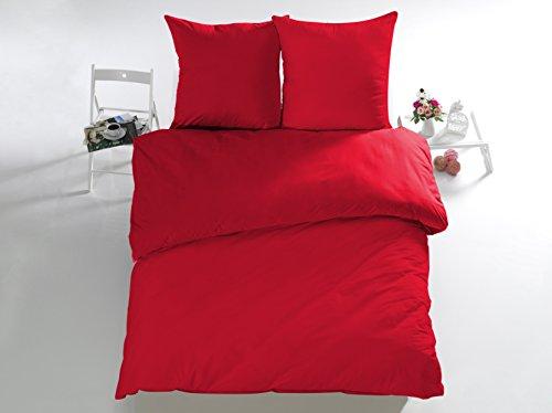 Melunda 3 tlg. Renforcé Bettwäsche Set | Bettdeckenbezug 200x200 cm, mit 2 Kopfkissenbezüge 80x80 cm | Rot | 3 teilig Bettgarnitur | Baumwolle Bettbezug mit Reißverschluss | Oeko-Tex - Bettbezug Rot