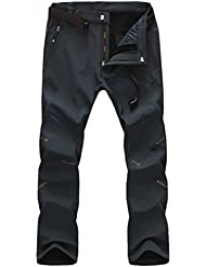 Zhhlinyuan De alta calidad Men's Waterproof Wind Proof Outdoor Climbing Pants Thick Soft Shell Fleece Lined Trousers