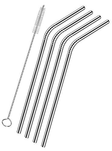 Stahl Stroh–verwendbar Trinkhalme, Set 4, inklusive Reinigungsbürste (Stahl-flüssigkeit Vertikale)