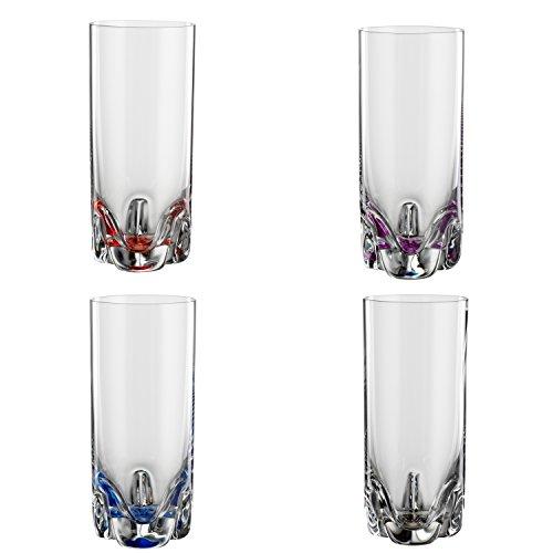 Bohemia Cristal 093 006 150 4er-Set Longdrinkbecher Bahama 300 ml aus Kristallglas mit farbig dekoriertem Boden Bahama Becher