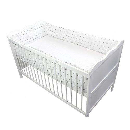 Nestchen Babybett 70x140 cm Bettumrandung Lang Nest Kopfschutz Rundum Bettnestchen Unifarben Motive, Farbe: Sterne Weiß, Größe: 420x30cm (für Babybett 140x70)