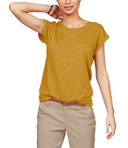 TrendiMax Damen T-Shirt Einfarbig Rundhals Kurzarm Sommer Shirt Locker Oberteile Basic Tops (Kurkuma, XL)