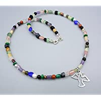 Zierliche Edelstein Kette - bunte Steinkette - Engel Anhänger - 925 Silber - Beads-in-Fashion