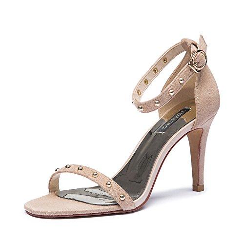 Dame d'été Europe et rivet chaussures talons creux de nubuck cuir Velcro/Santals de haut talon A