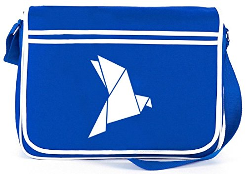 Shirtstreet24, Origami Vogel, Tier Natur Retro Messenger Bag Kuriertasche Umhängetasche Royal Blau