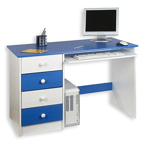 IDIMEX Kinderschreibtisch Schülerschreibtisch MALTE Schreibtisch mit Tastaturauszug und 4 Schubladen, Kiefer massiv weiß/blau lackiert -