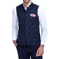 Mr Buttons Mens Slim Fit Nehru Jacket NJA025-M_Blue_Medium