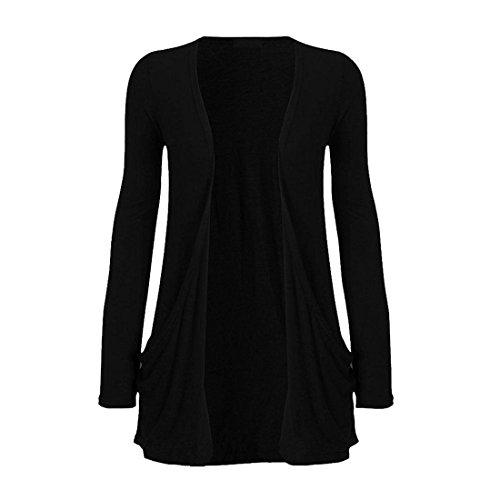 Damen Plain Drop Pocket Boyfriend Cardigan vorne offen Casual Top 8–26 Gr. 50 / 52, schwarz (Cardigan Drop Pocket)