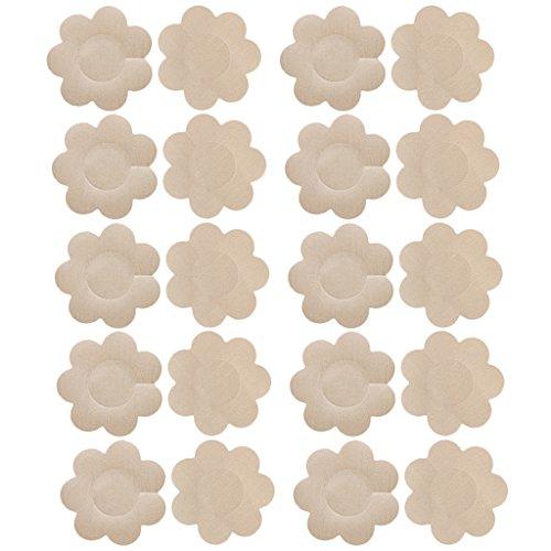 10 Paare Nipple Covers Nippelabdeckungen Nackt Farbe Satin Brust Pasties (Fashion-formen Brust Blütenblätter)