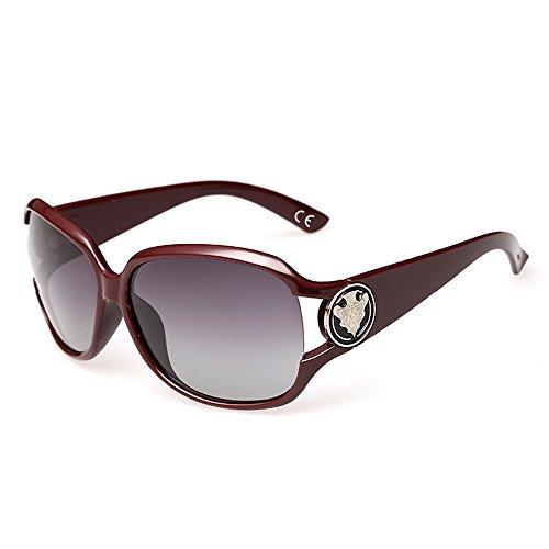 VeBrellen Damen Mode Polarisiert Oversize Sonnenbrille 100% UV-Schutz VS005 (Dark Red)